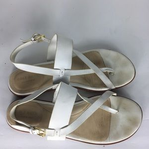 Cole Haan White Open Toe Ankle Strap Sandals